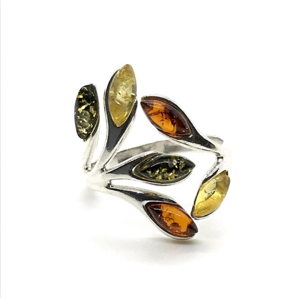 Adjustable Amber Ring Multi color 925
