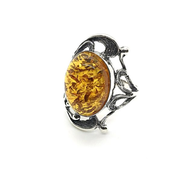 Baltic Amber Oxidized Silver Ring