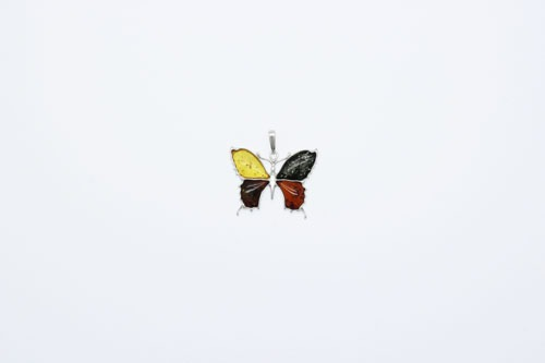 Natural Baltic Amber Sterling Silver Butterfly Pendant