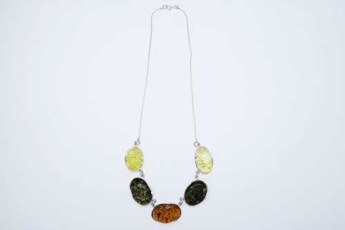 Baltic Amber Sterling Silver Multi Color Necklace