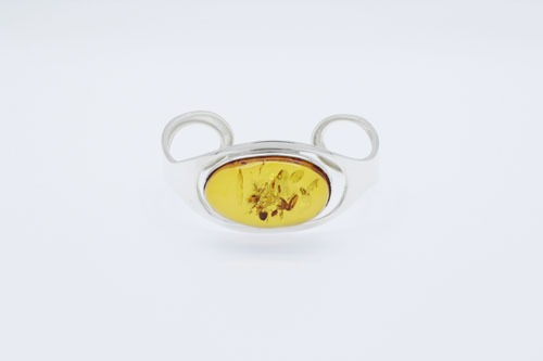 Baltic Amber Sterling Silver Cuff Bracelet. Amberman.