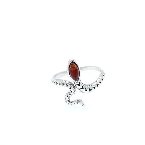 Adjustable Amber Snake Ring