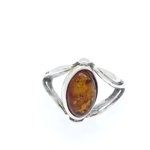 Natural Baltic Amber Ring Reversible Cognac/Green/925 Sterling silver Oval