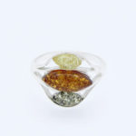 Natural Baltic Amber Ring Multi color /925 Sterling Silver