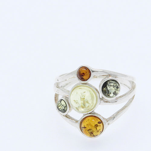 Round shaped multi color stones set in 925 sterling silver, natural Baltic amber ring.