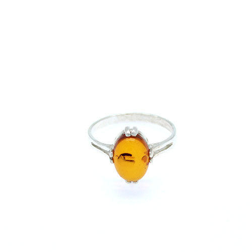 Genuine Baltic amber sterling silver ring.