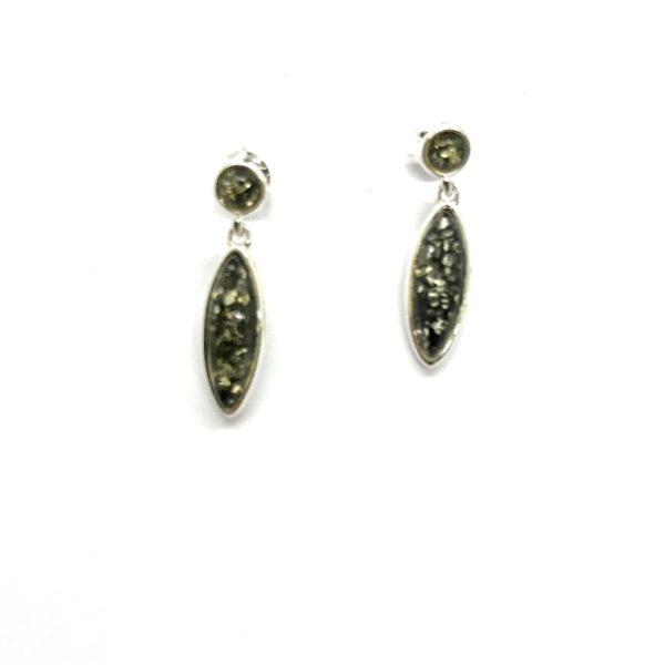 Post Dangle Green Amber Earrings