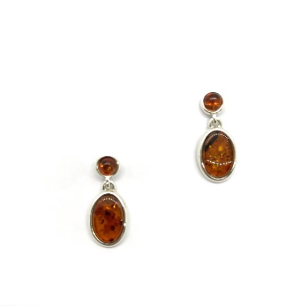 Cognac Color Amber Earrings