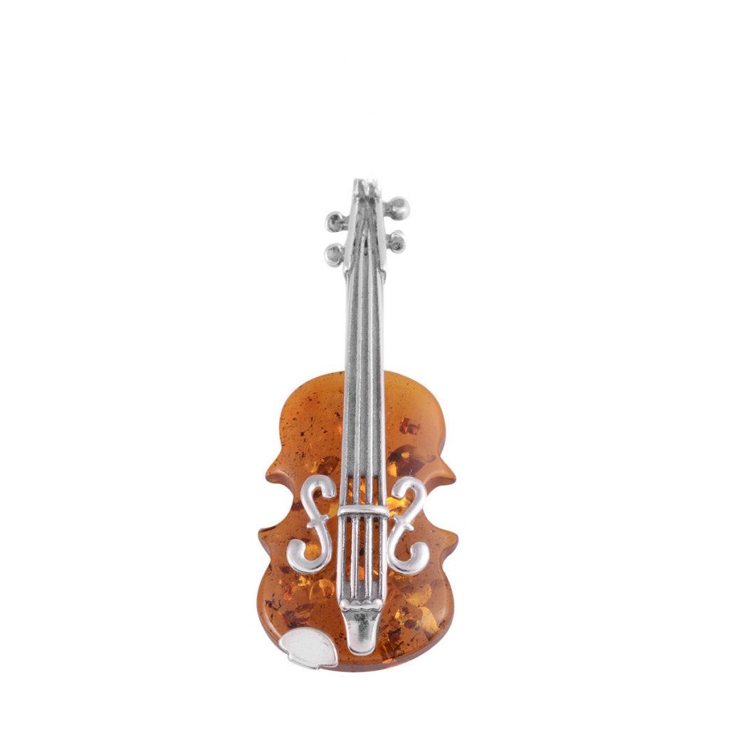 Natural Baltic Amber Sterling Silver Violin Pin/Pendant(Brooch)
