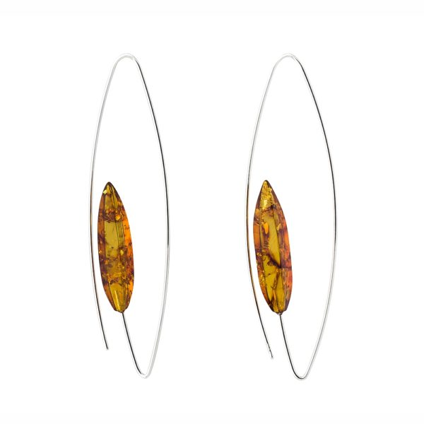 Cognac Color Natural Baltic Amber Earrings