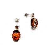 Post Dangle Baltic Amber .925 Silver Earrings