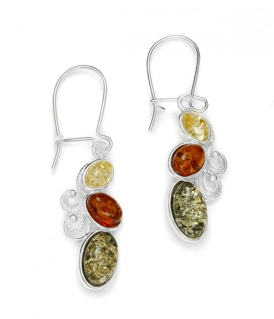 Multi Color Baltic Amber Earrings