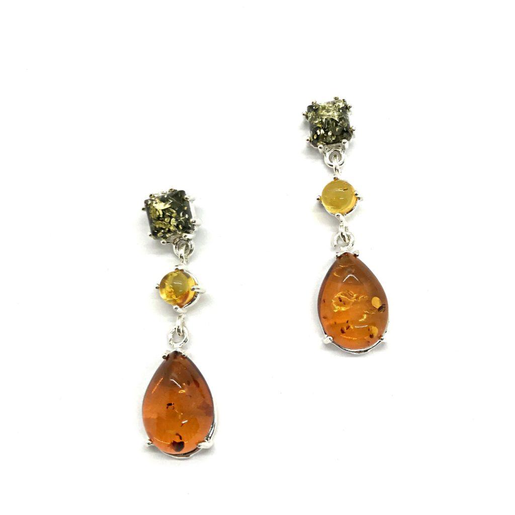 Multi Color Post Dangle Earrings