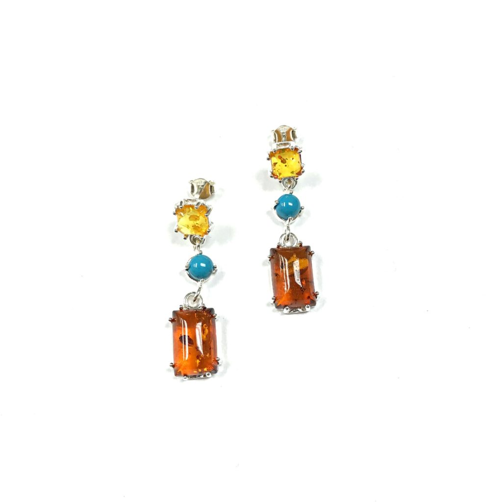 Multi Color Amber with Turquoise Earrings