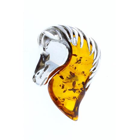 Genuine Baltic Amber Sterling Silver Horse Pendant