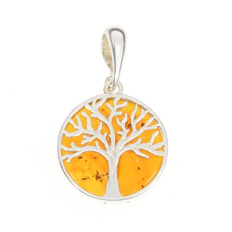 Baltic Amber Sterling Silver Tree of Life Pendant