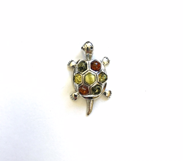 Natural Baltic Amber Sterling Silver Turtle Pendant