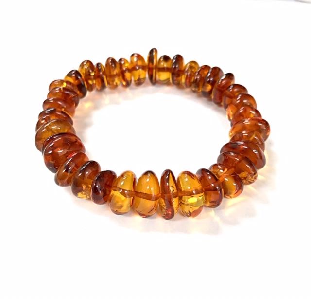 Cognac color Baltic Amber Stretch Bracelet. www.amberman.com
