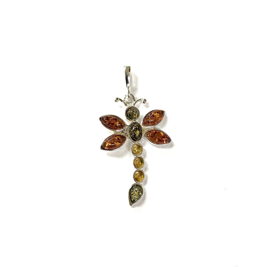 Natural Baltic Amber Dragonfly Pendant