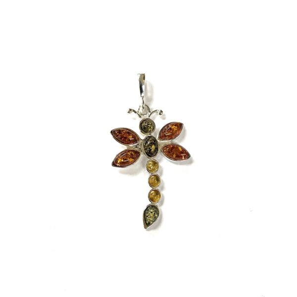 Natural Baltic Amber Dragonfly Pendant