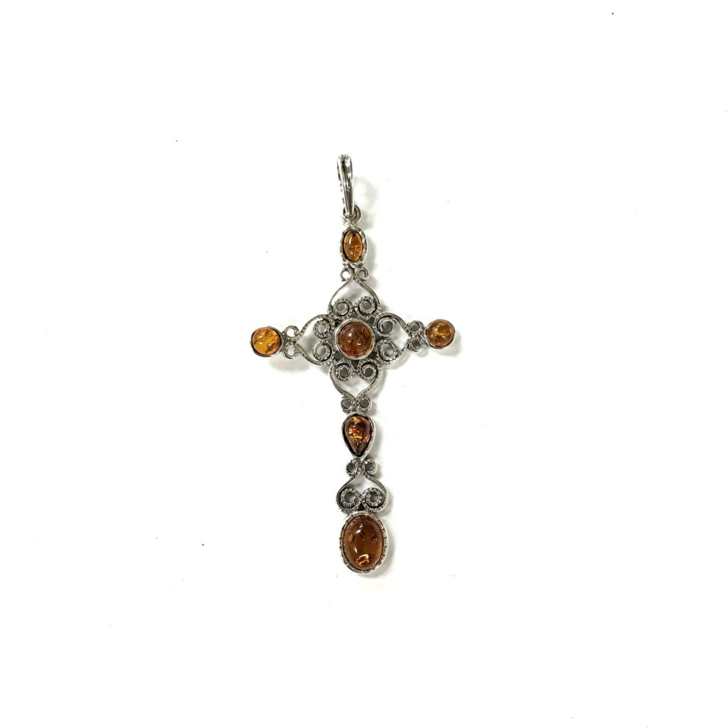 Natural Baltic Amber Cross Pendant