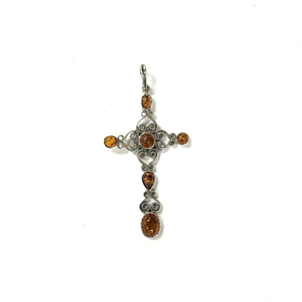 Natural Baltic Amber Cross Pendant