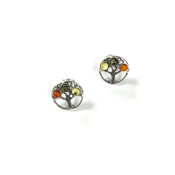 Baltic Amber Sterling silver stud earrings