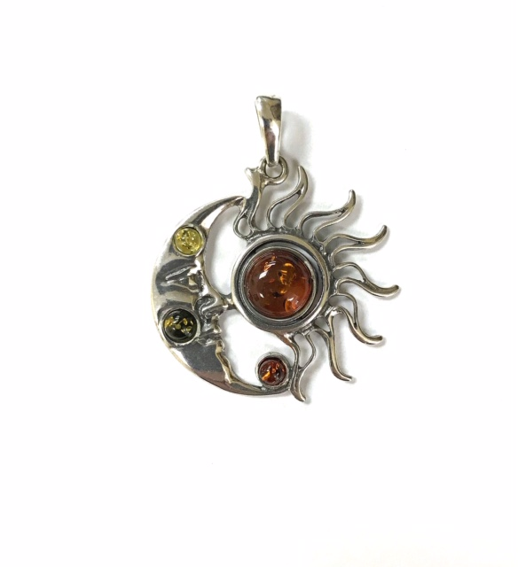 Genuine Baltic Amber Sun and Moon Pendant
