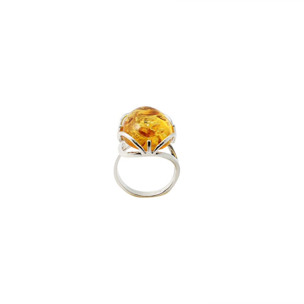 Natural Baltic Amber Sterling Silver Ring