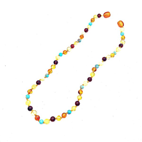 Multi color Baltic Amber with Turquoise Necklace for Kids.