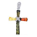 Multi color Genuine Amber Cross