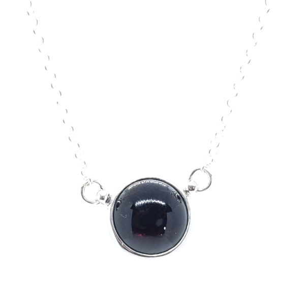 Round Stone Cherry Amber /Sterling Silver Necklace