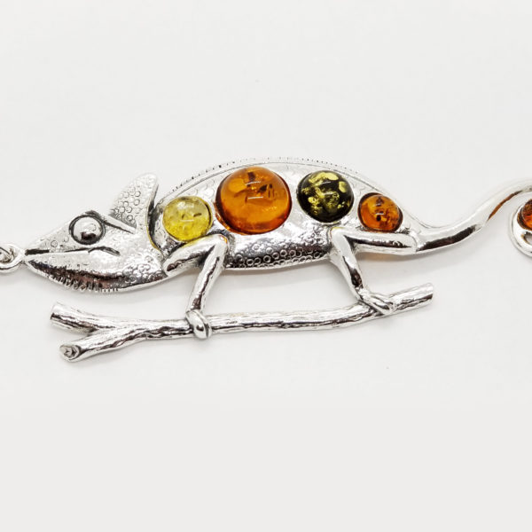Chameleon Lizard Multi color Amber Pendant 925