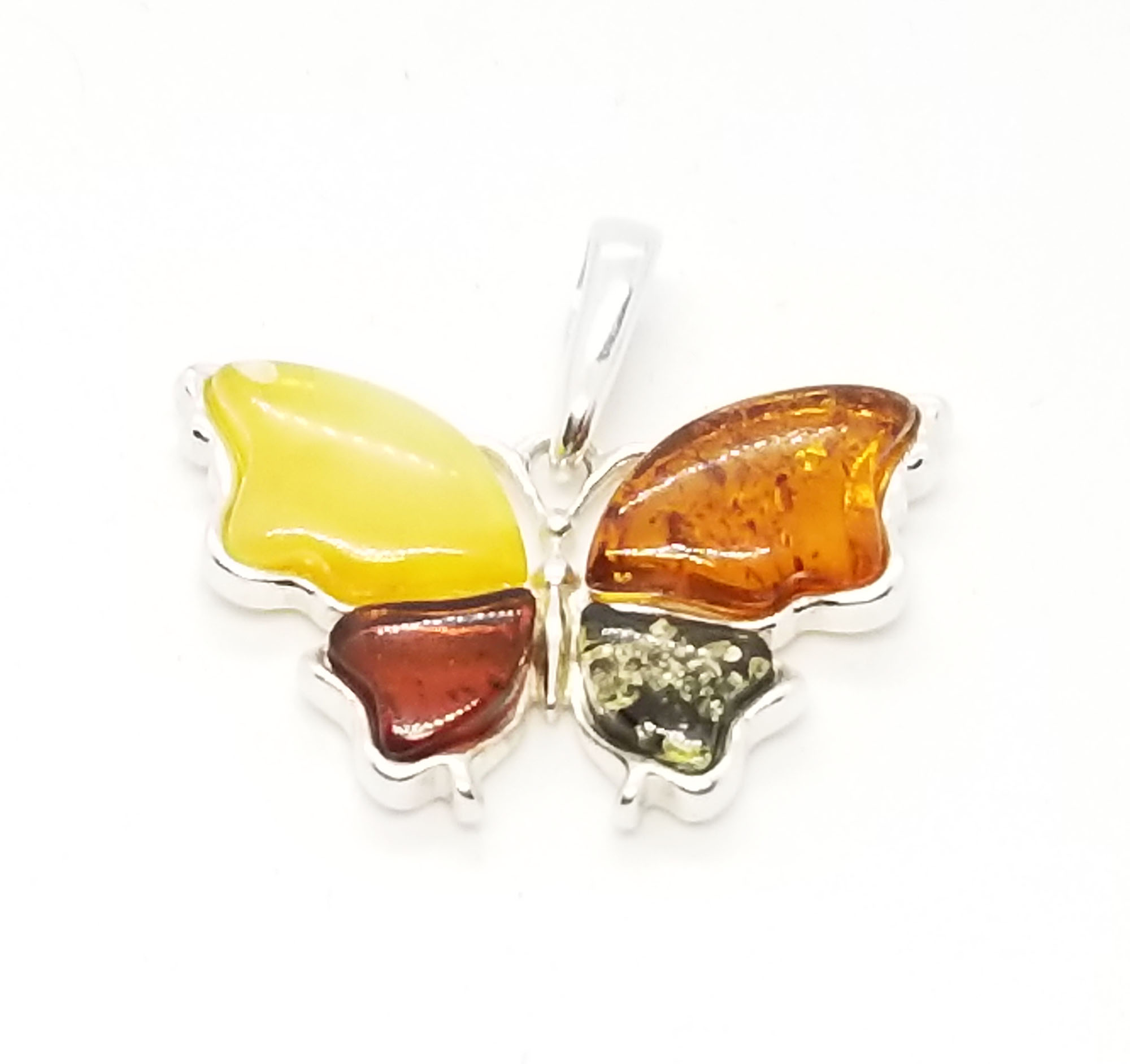Multi color Baltic amber /.925 Silver Butterfly Pendant.