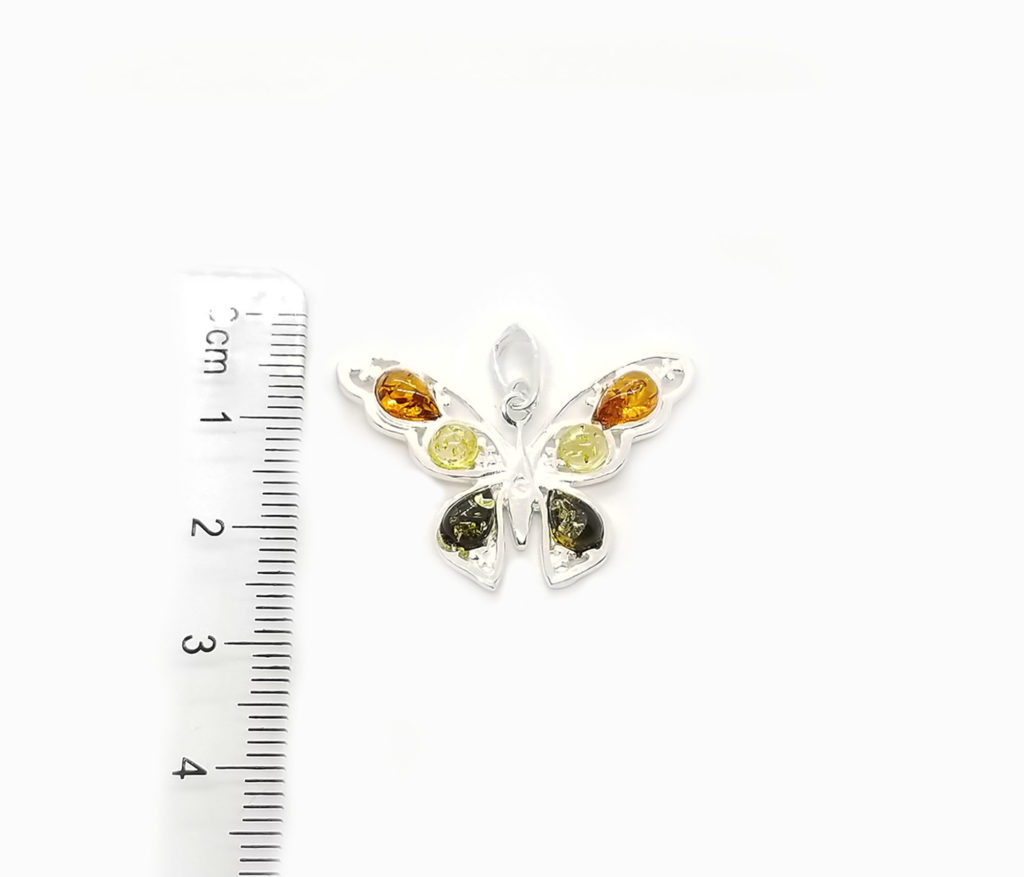 Multi color Amber Butterfly Pendant 925 (Cognac, Green, Lemon Amber)