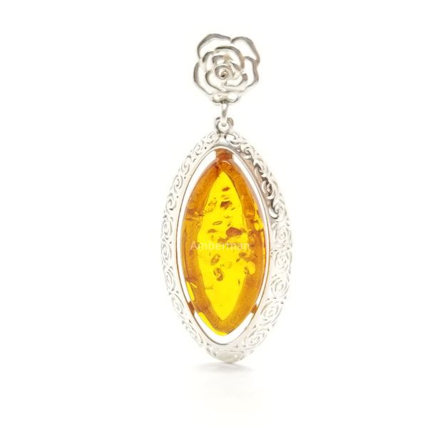 Marquise Amber Pendant in Filigree Silver Setting