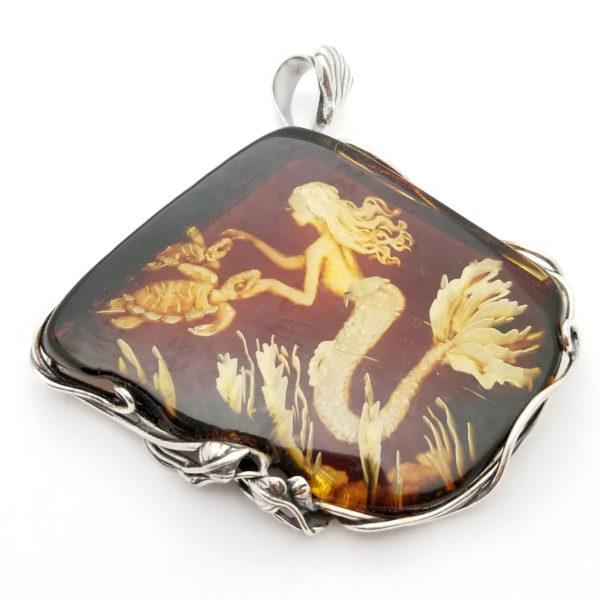 Mermaid Hand Carved Reverse Intaglio /Cameo Amber Pendant
