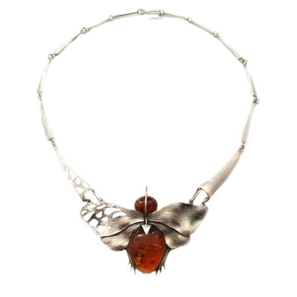 Art Nouveau/Art Deco Butterfly Oxidized Silver Necklace