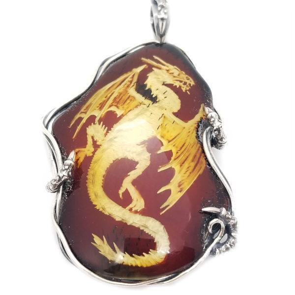 Dragon Hand Carved Reverse Intaglio /Cameo Amber Pendant .925