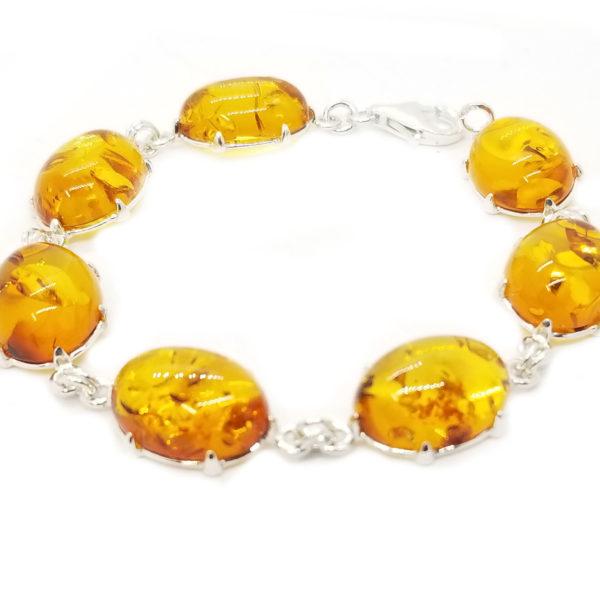 Cognac Amber Link Bracelet in Double Prongs