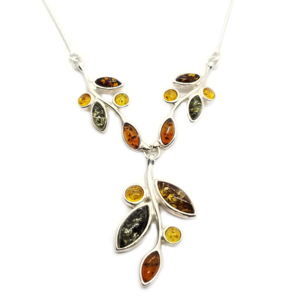Multicolor Amber Marquis Stones Necklace
