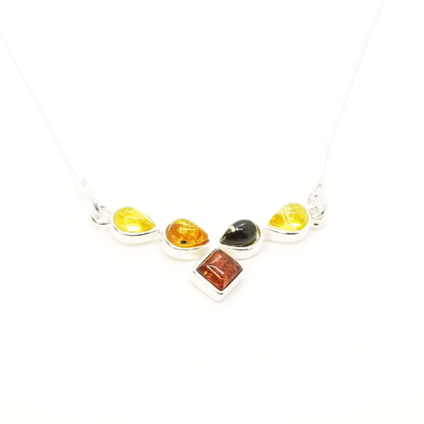 Delicate Multicolor Amber Silver Necklace