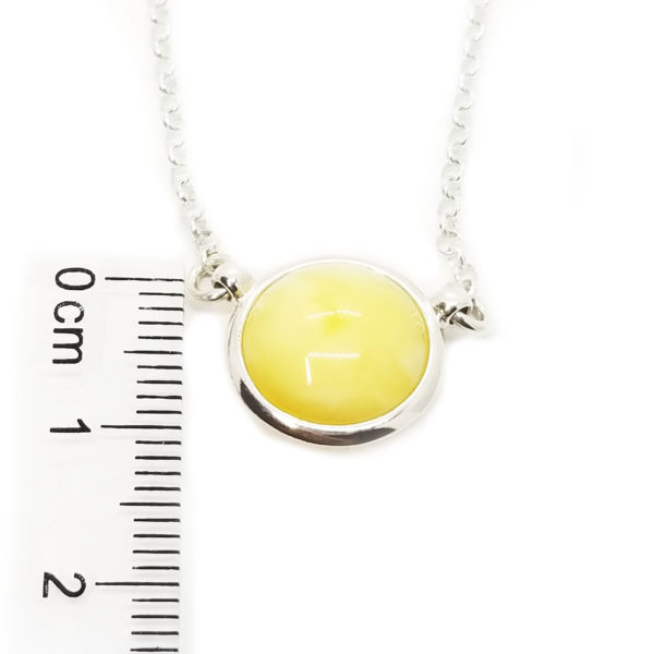 Round Stone Butterscotch Amber /Sterling Silver Necklace