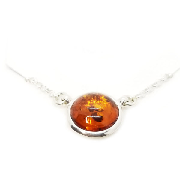 Round Stone Cognac Amber/ Sterling Silver Necklace