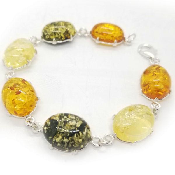 Multicolor Amber Link Bracelet in Double Prongs