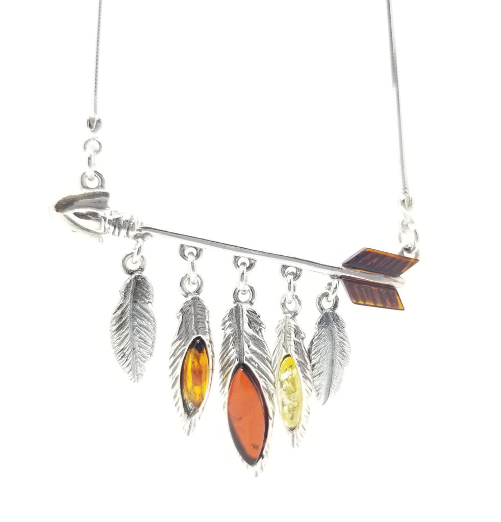 Arrow and Feathers Multicolor Amber Sterling Silver Necklace
