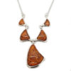 Cognac Amber Sterling Silver Necklace