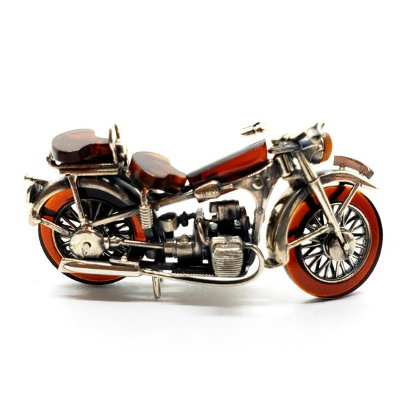 Cherry Amber/Sterling Silver Motorcycle Statue