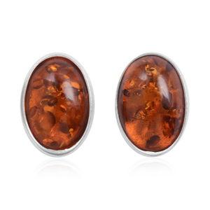 Oval Stud Cognac Amber Earrings