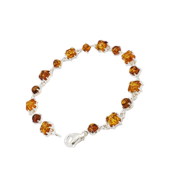 Cognac Amber .925 Silver Link/Tennis Bracelet